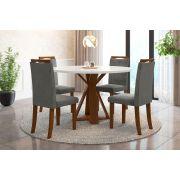 Sala de Jantar Lisboa e 4 Cadeiras Ônix Imbuia/Branco/Cinza