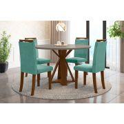 Sala de Jantar Lisboa e 4 Cadeiras Ônix Imbuia/Gelo/Tiffany