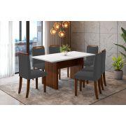 Sala de Jantar Miami com 6 Cadeiras Ônix Branco/Imbuia/Cinza