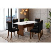 Sala de Jantar Miami com 6 Cadeiras Ônix Branco/Imbuia/Preto