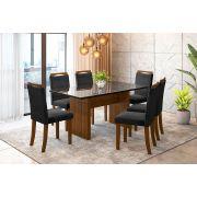 Sala de Jantar Miami com 6 Cadeiras Ônix Imbuia/Preto