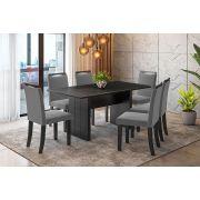 Sala de Jantar Miami com 6 Cadeiras Ônix Preto/Cinza