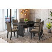 Sala de Jantar Miami com 6 Cadeiras Ônix Preto/Linho Marrom