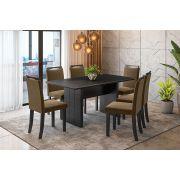 Sala de Jantar Miami com 6 Cadeiras Ônix Preto/Marrom
