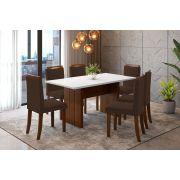 Sala de Jantar Miami e 6 Cadeiras Ônix Branco/Imbuia/Marrom