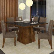 Sala Jantar Itália 6 Cadeiras Golden Rústico Malbec/Preto