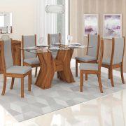 Sala Jantar Montana Tampo Vidro e 6 Cadeiras Malta Terrara