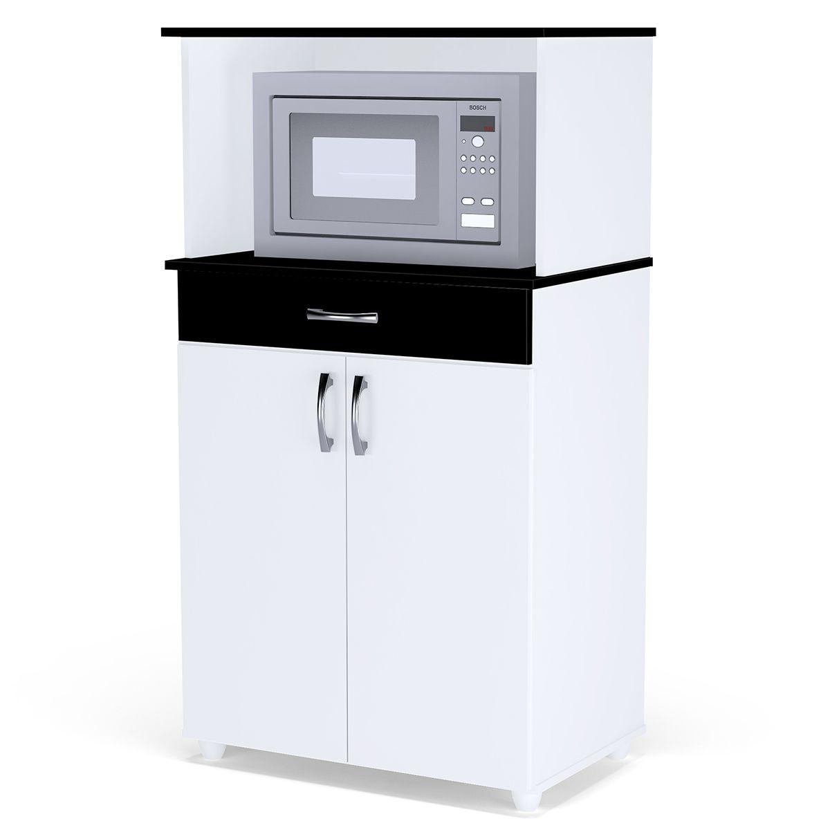 Balcão Cozinha para Microondas Carina Branco/Preto/Branco