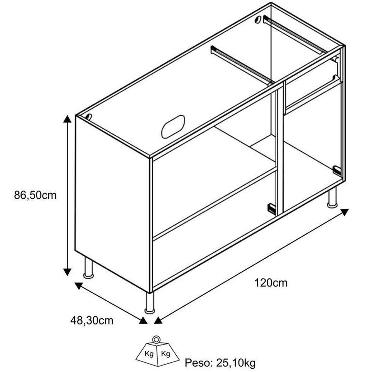 Balcão de Pia Evidence 1,20 m 3 Portas Branco Bertolini