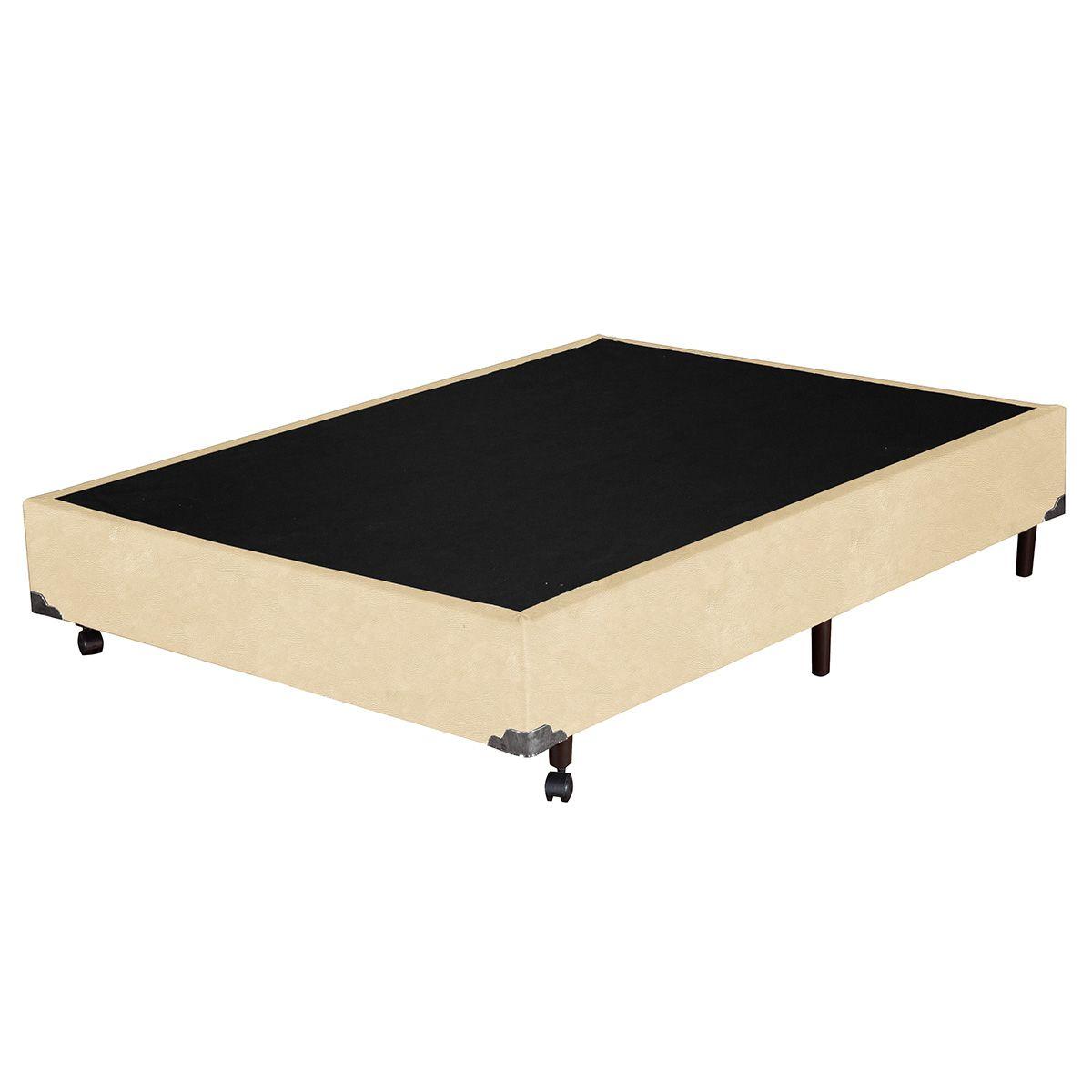 Base Box Casal Corino Bege 138x188x37 cm
