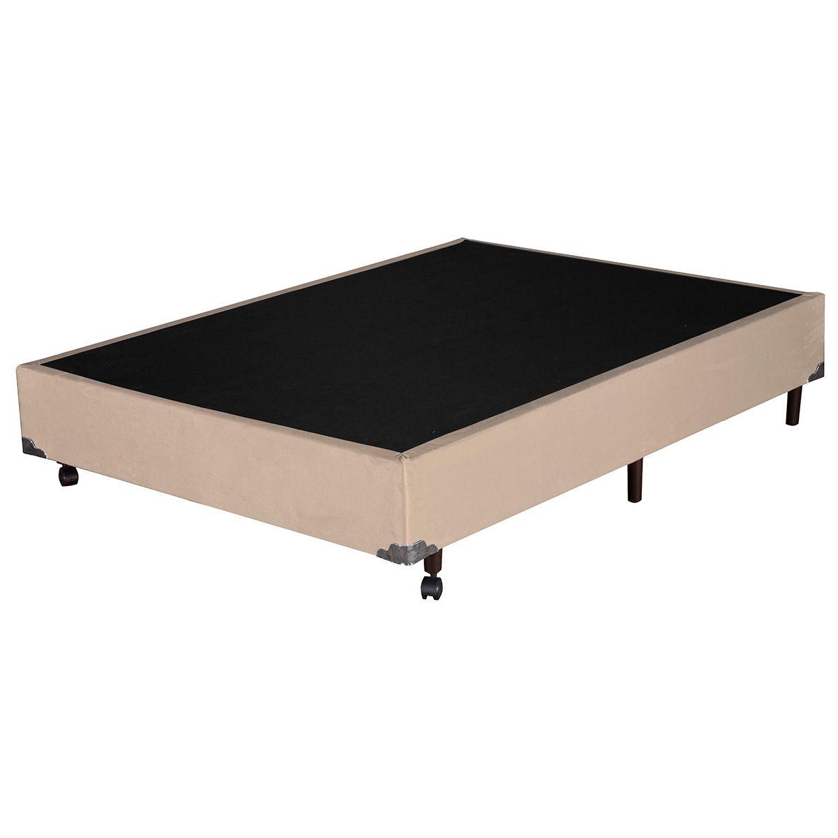 Base Box Casal Suede Bege 138x188x37 cm