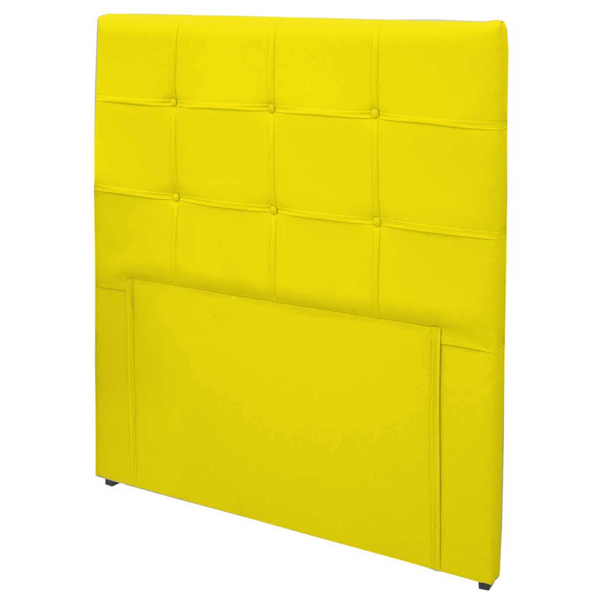 Cabeceira Casal Estofada Ana Luísa 140 cm Corino Amarelo