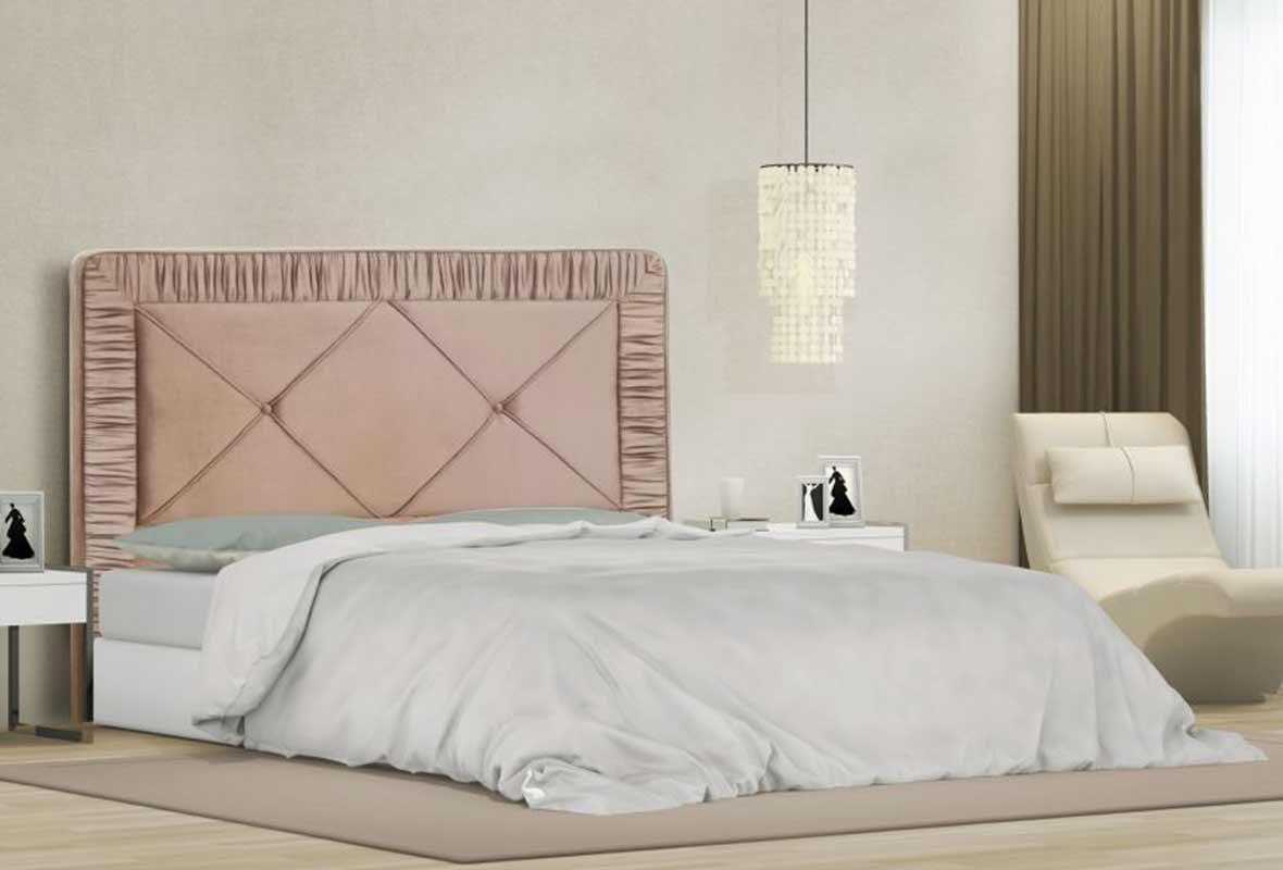 Cabeceira Athenas Casal 140 cm Veludo Rosê Perfan Móveis