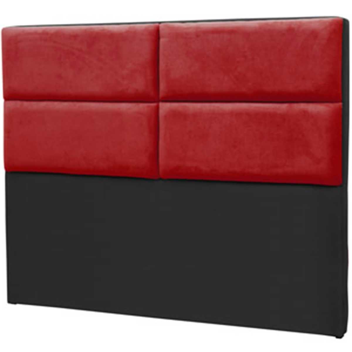 Cabeceira Barcelona Solteiro 90 cm Preto/Vermelho Perfan
