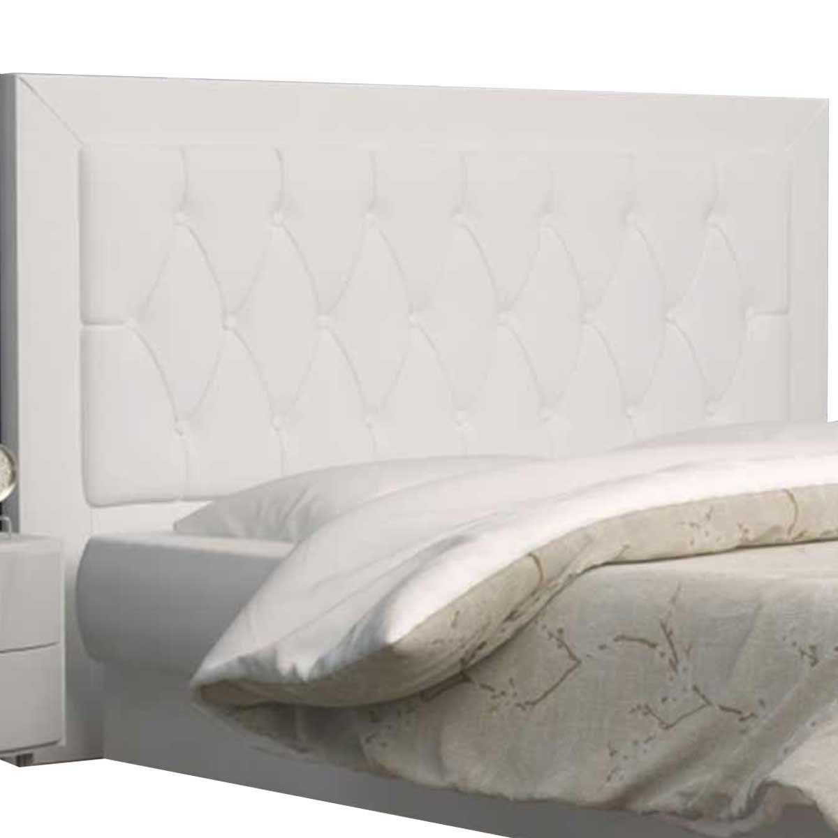 Cabeceira Solteiro Estofada Bianca 90 cm Corino Branco