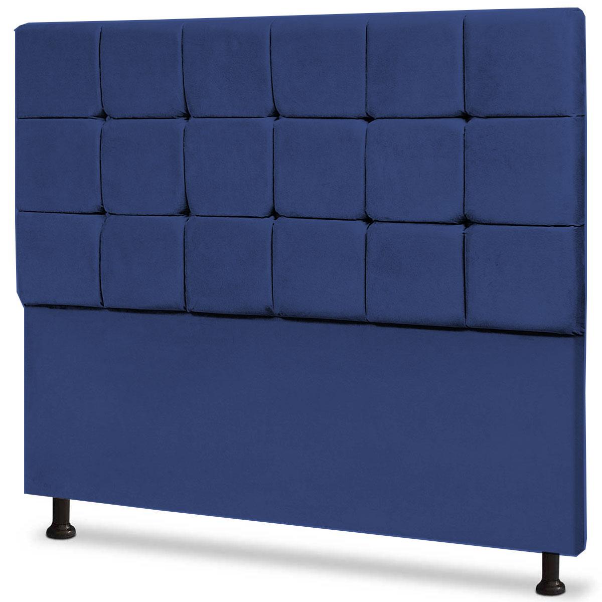 Cabeceira Casal Estofada Espanha 140 cm Animale Azul