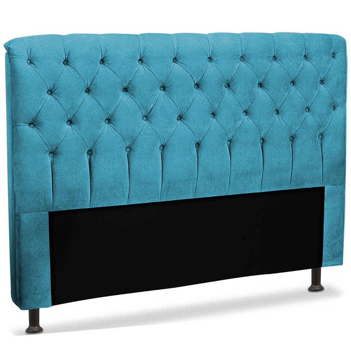 Cabeceira Casal Estofada Paris 140 cm Azul Velur JS Móveis