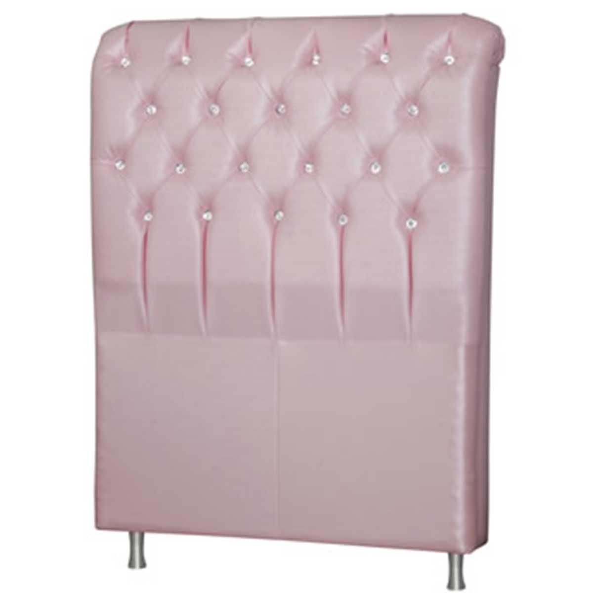 Cabeceira Queen Estofada Domus 160 cm Corino Metalizado Rosa Perfan