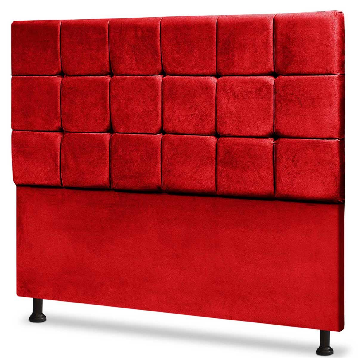 Cabeceira Casal Estofada Espanha 140 cm Animale Vermelho