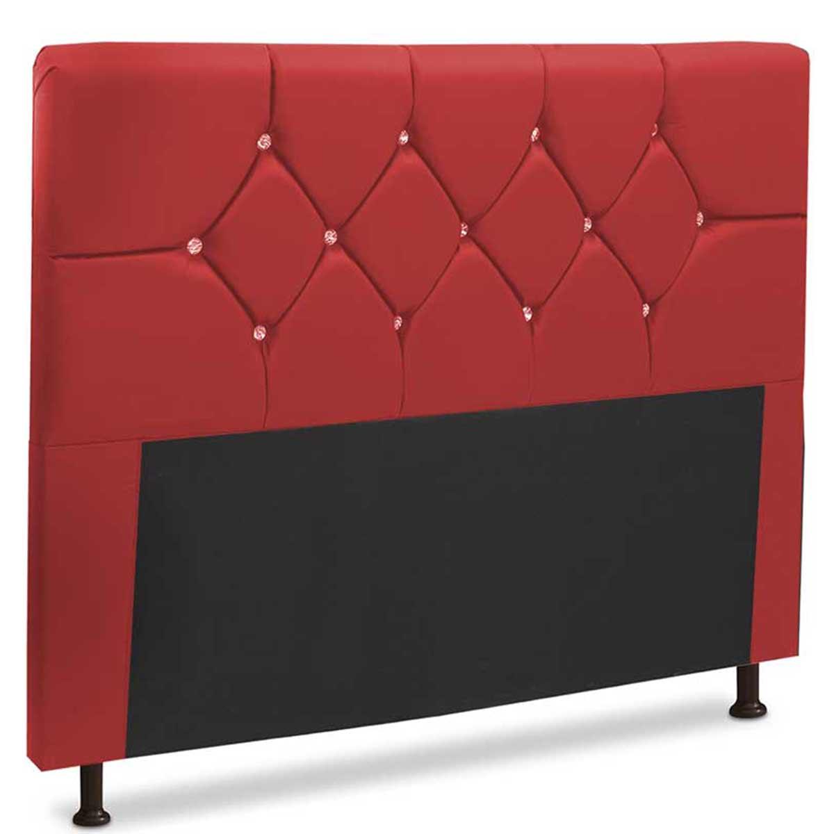 Cabeceira Casal Estofada França 140 cm Vermelho JS Móveis