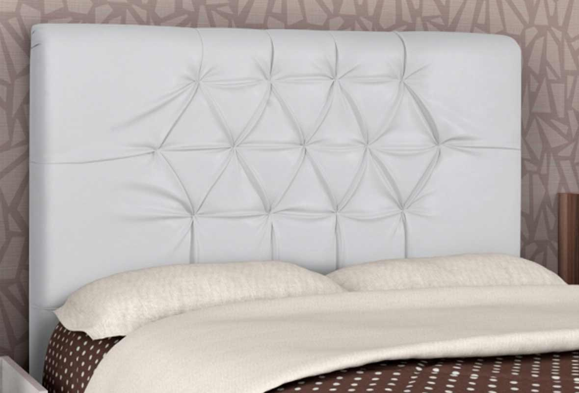 Cabeceira Casal Estofada Gabriela 140 cm Corino Branco