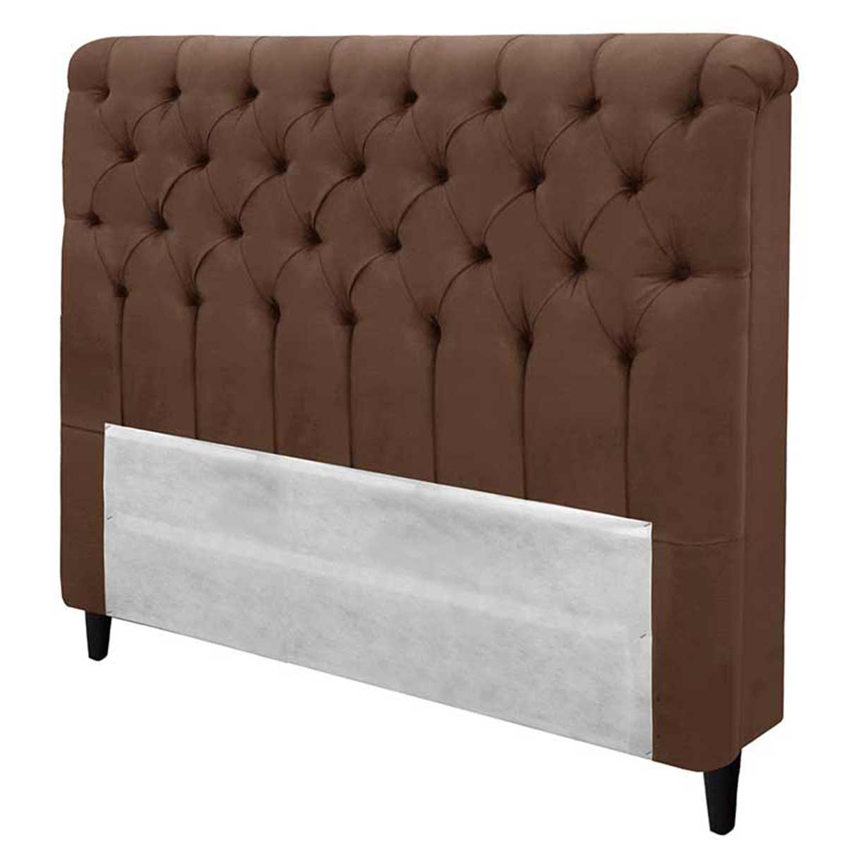 Cabeceira Imperatriz Casal 140 cm Suede Chocolate Simbal