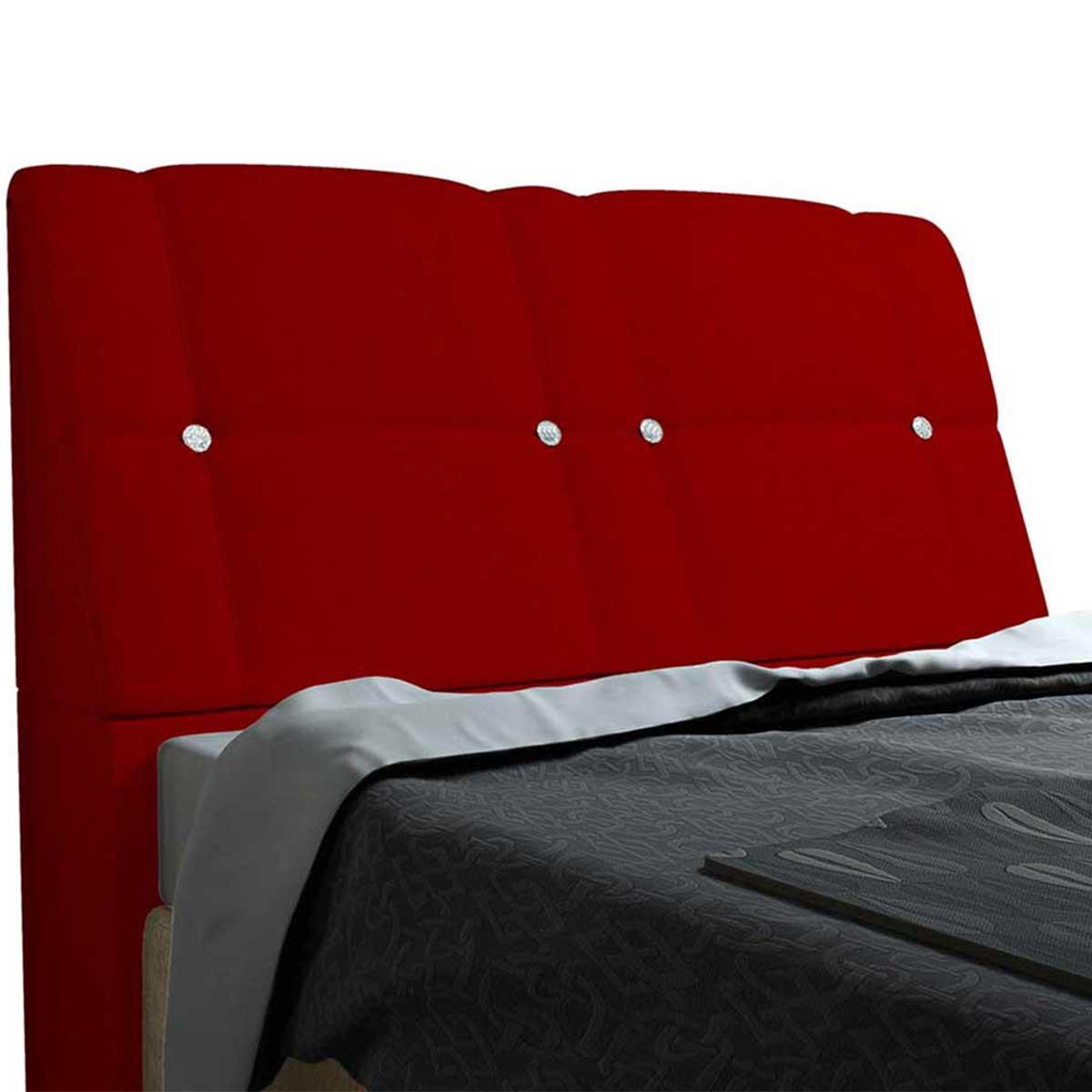 Cabeceira Queen Estofada Itália 160 cm Vermelho JS Móveis