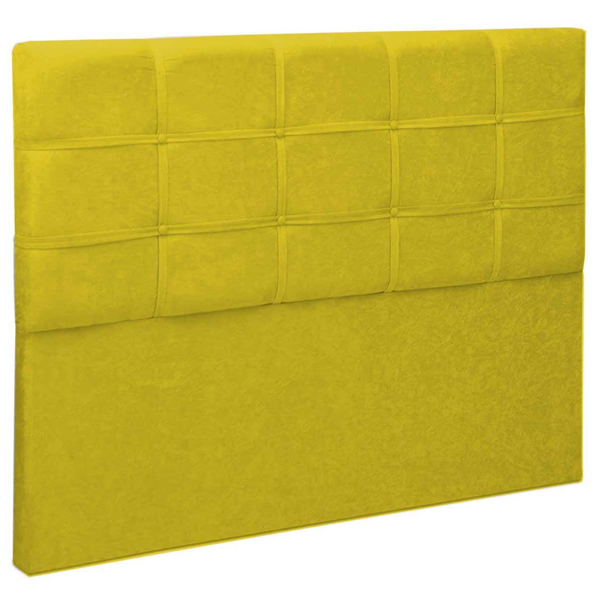 Cabeceira Casal Estofada Jordânia 140 cm Animale Amarelo