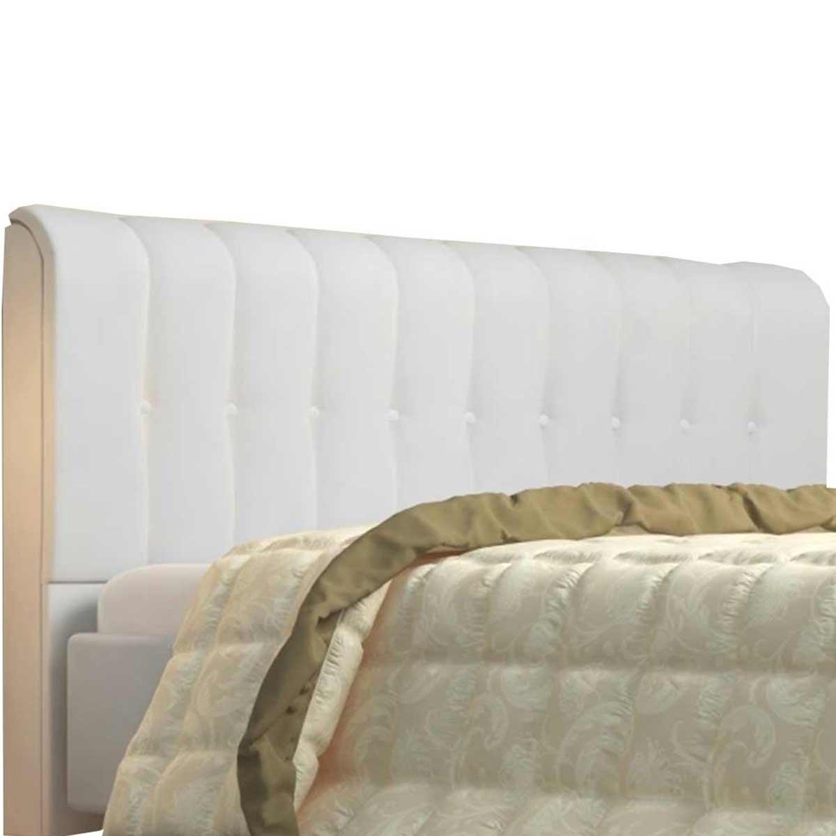 Cabeceira Casal Estofada Kiara 140 cm Corino Branco