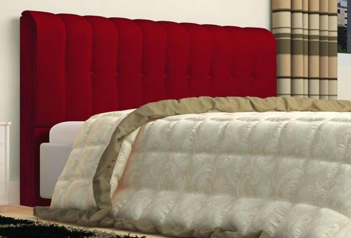 Cabeceira King Estofada Kiara 195 cm Veludo Vermelho