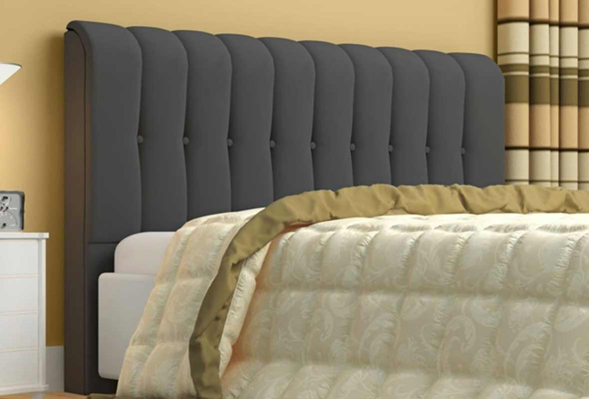 Cabeceira Queen Estofada Kiara 160 cm Suede Cinza Casa Chick