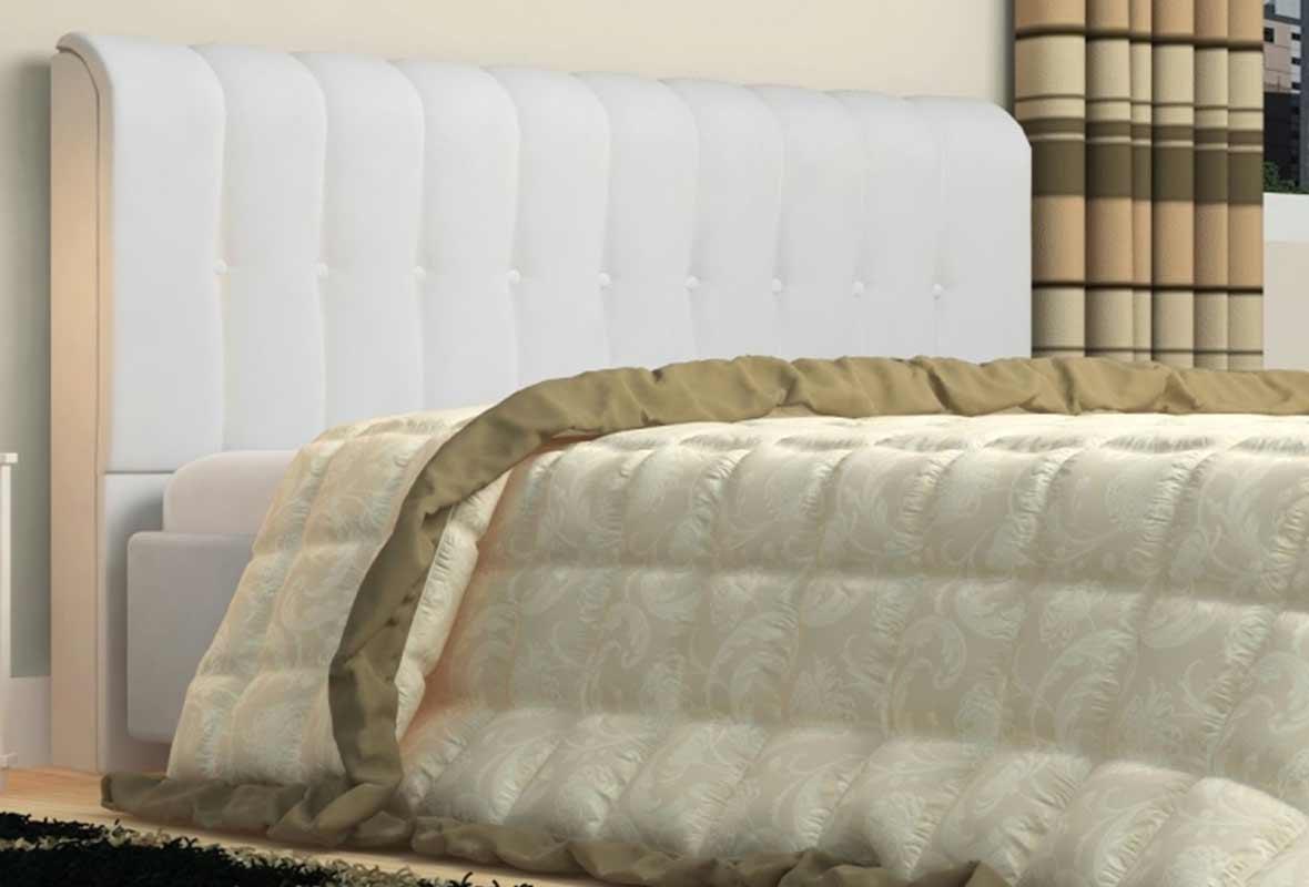 Cabeceira Solteiro Estofada Kiara 90 cm Corino Branco