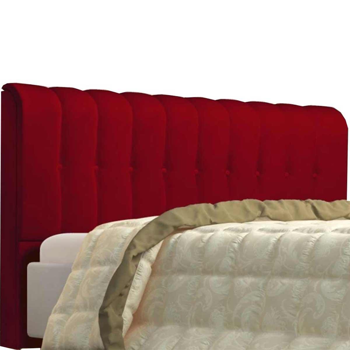 Cabeceira Solteiro Estofada Kiara 90 cm Veludo Vermelho