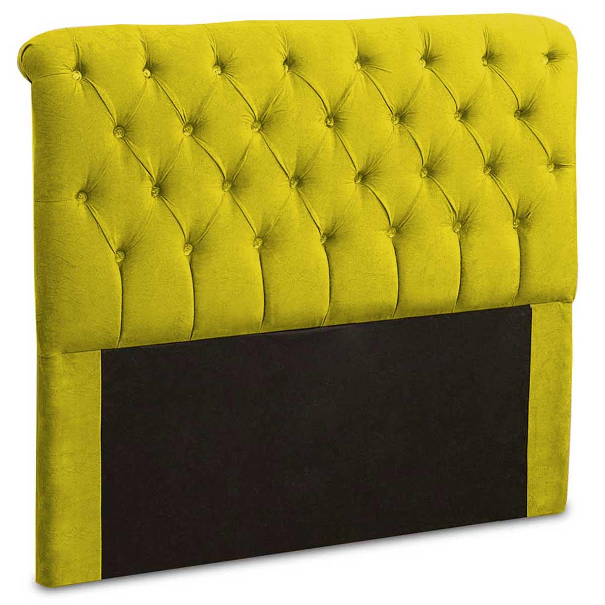 Cabeceira King Estofada Maria 195 cm Suede Amarelo