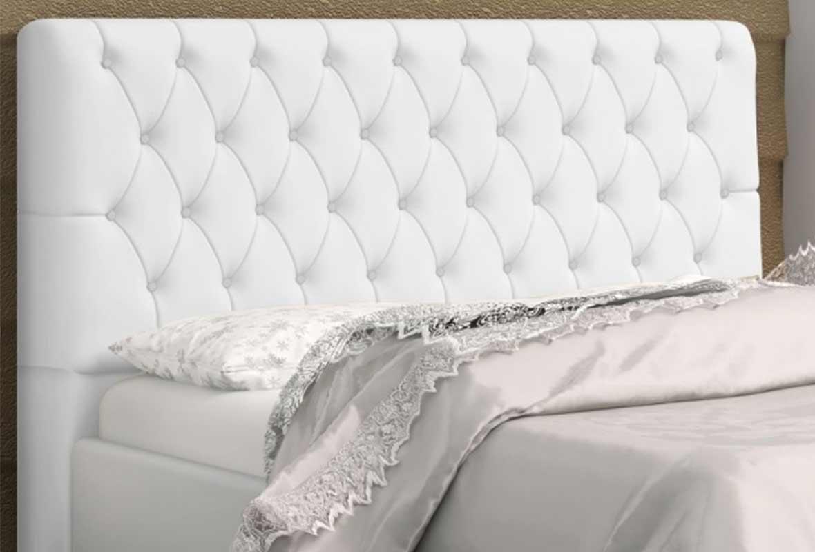 Cabeceira Lady Queen 160 cm Corino Branco Casa Chick