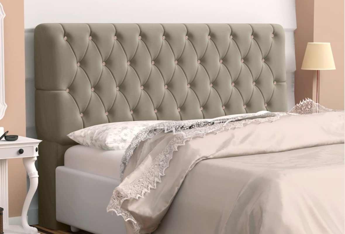 Cabeceira Lady Straz Solteiro 90 cm Cinza Brilho Casa Chick