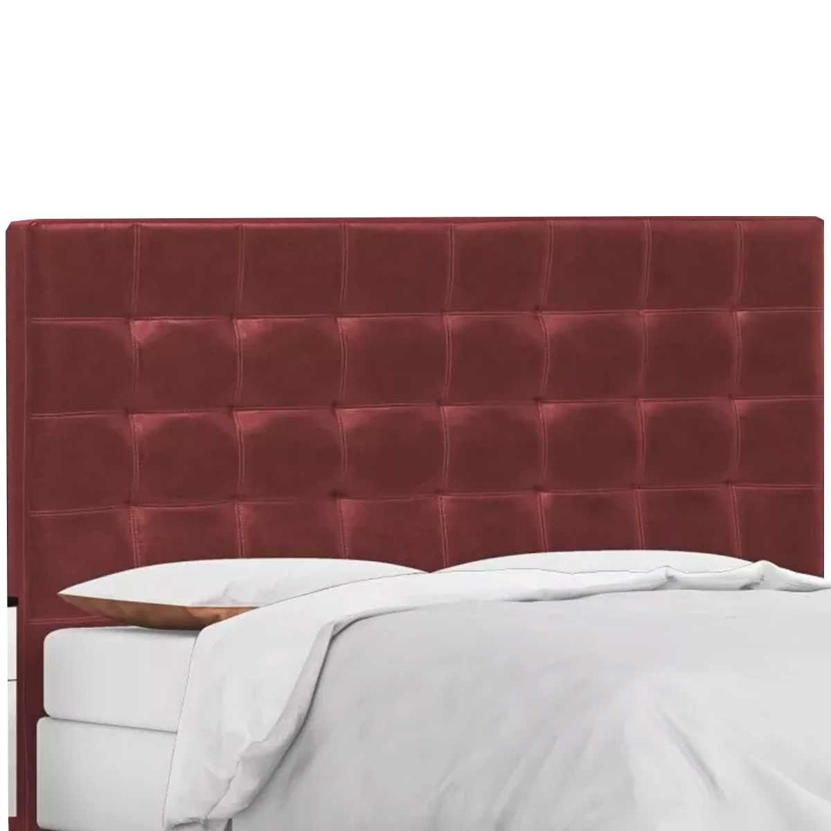 Cabeceira Londres Solteiro 90 cm Couro Sintético Vermelho