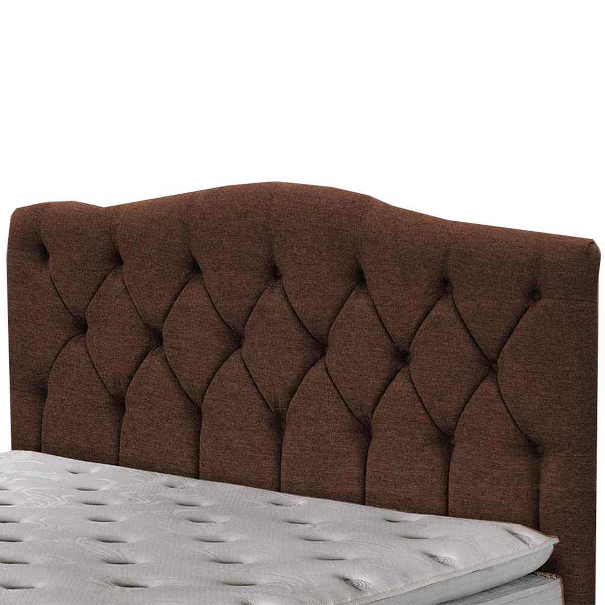 Cabeceira Luxury Casal 140 cm Linho Marrom Escuro Simbal