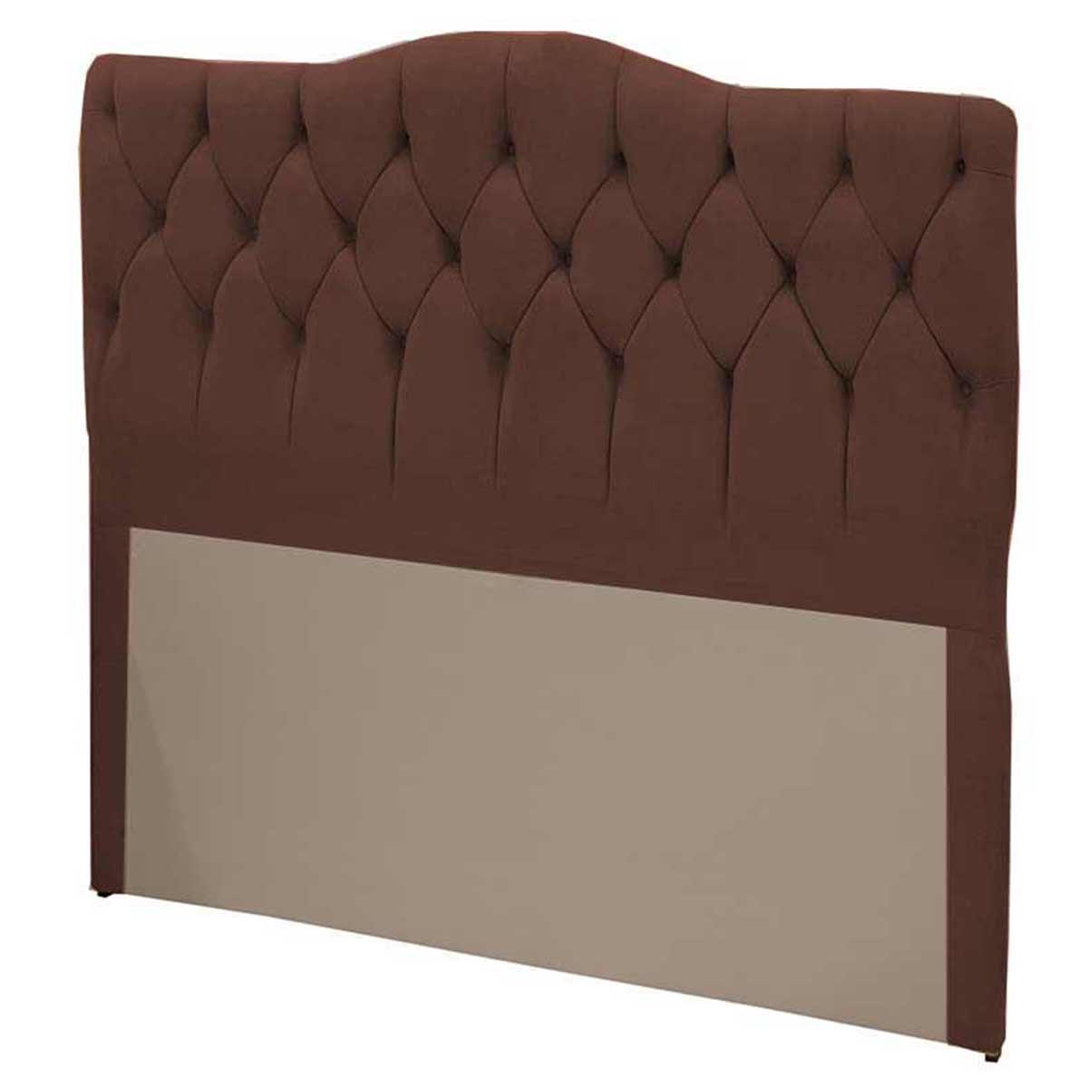 Cabeceira Casal Estofada Luxury 140cm Suede Chocolate Simbal