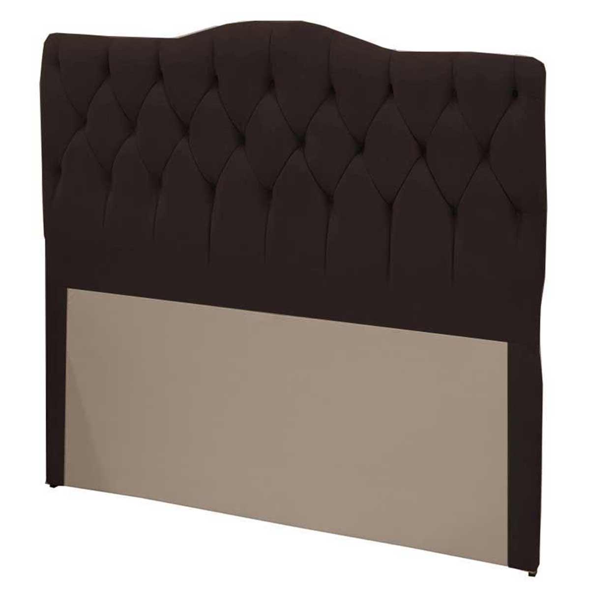 Cabeceira Casal Estofada Luxury 140 cm Suede Negro Simbal
