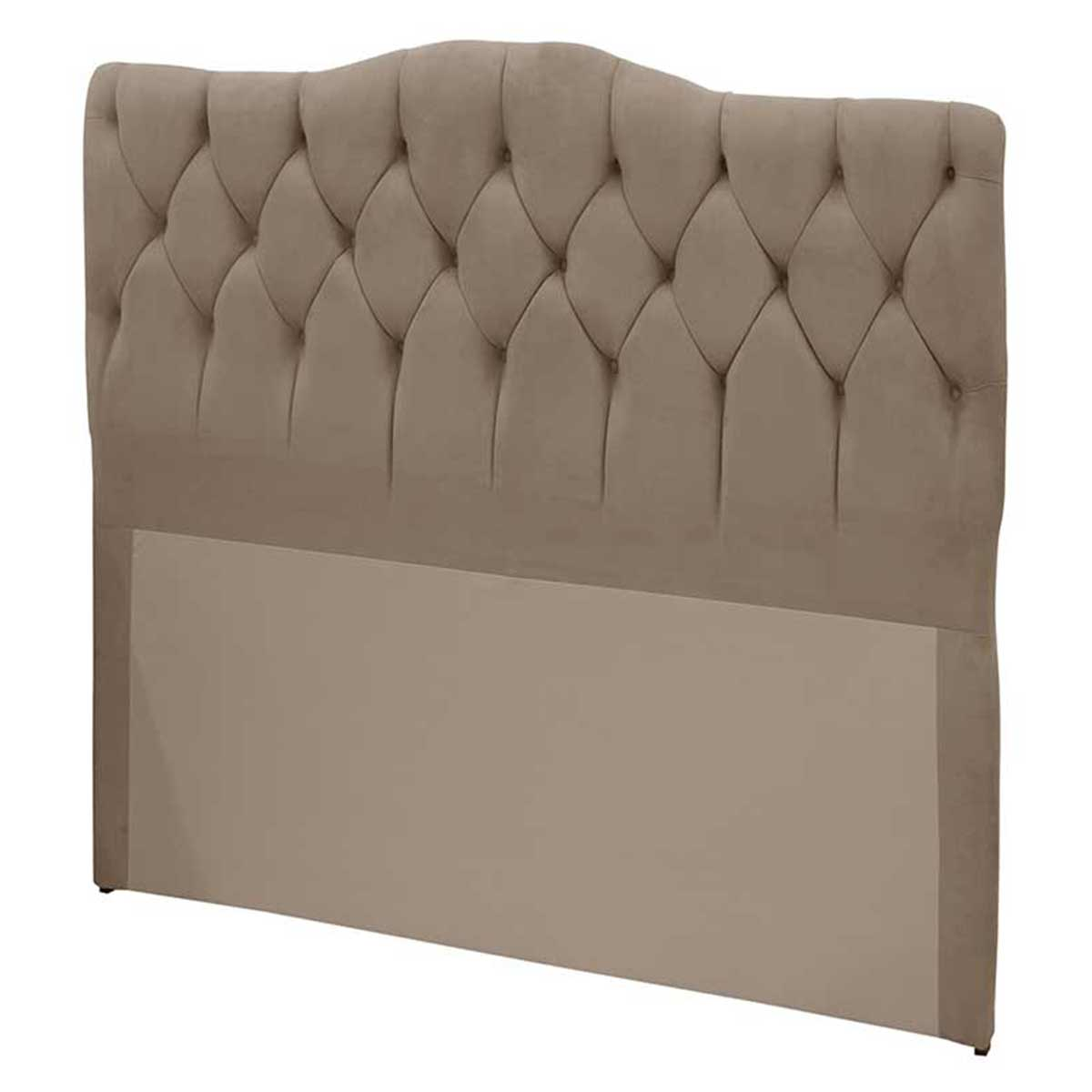Cabeceira Luxury Casal 140 cm Suede Taupe Simbal