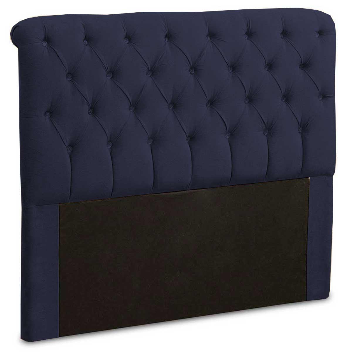 Cabeceira Casal Estofada Maria 140 cm Suede Azul Marinho