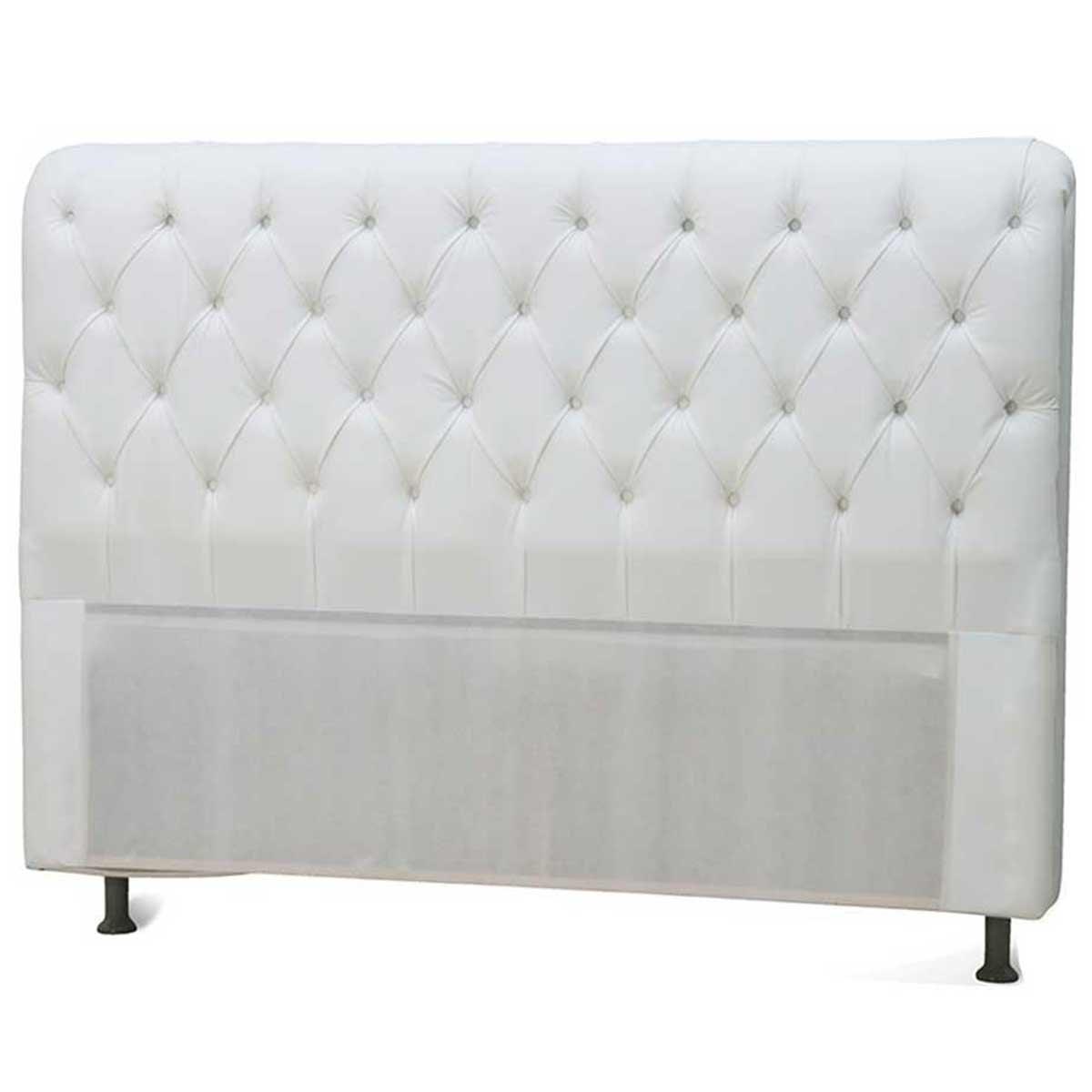 Cabeceira Casal Estofada Paris 140 cm Branco JS Móveis