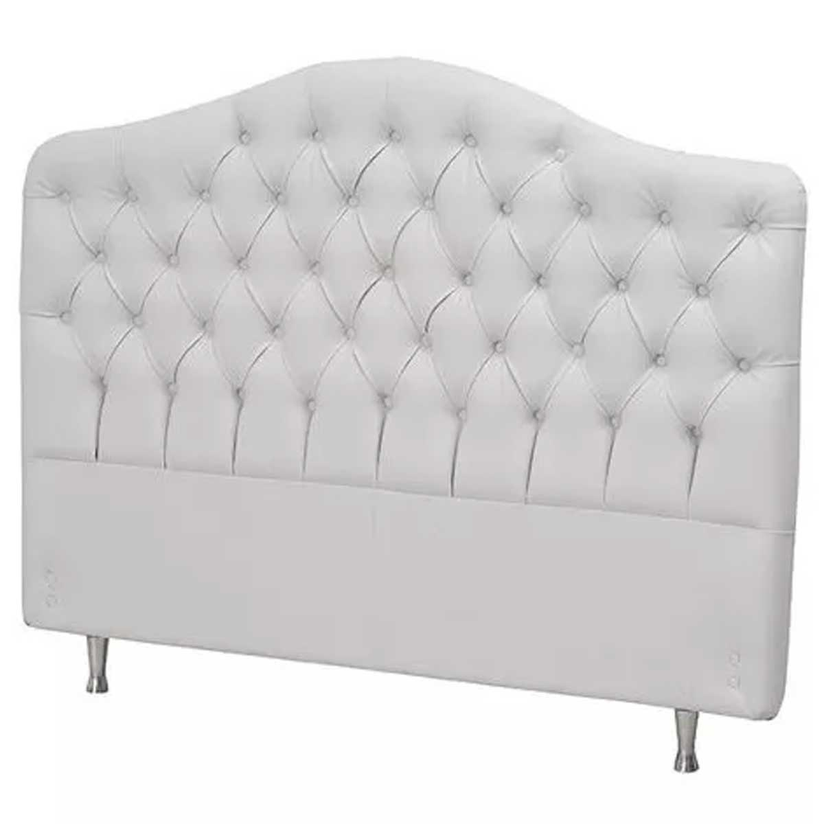 Cabeceira Roma Queen 160 Corino Branco Perfan Móveis