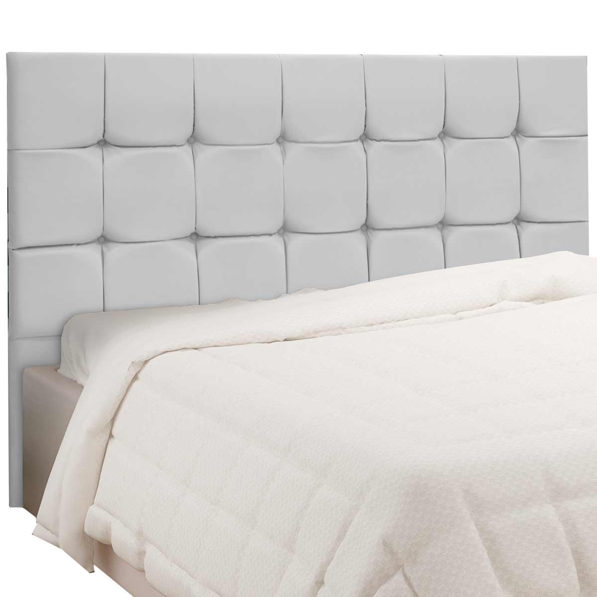 Cabeceira Casal Estofada Slim 140 cm CouroRios Branco Simbal