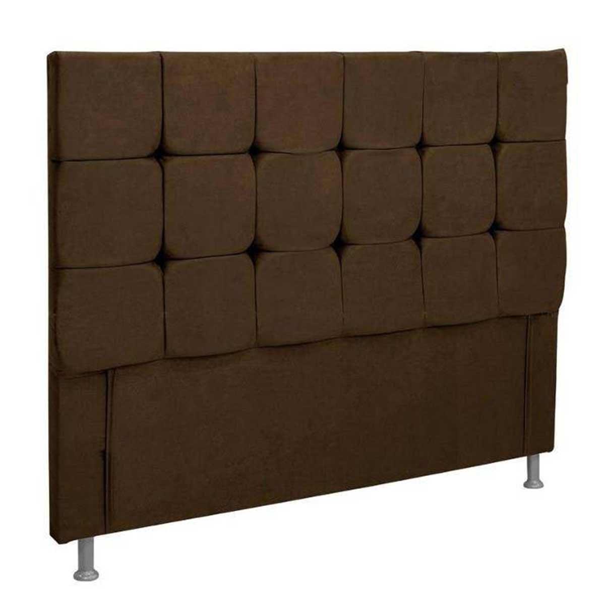 Cabeceira Casal Estofada Slim 140 cm Suede Chocolate Simbal