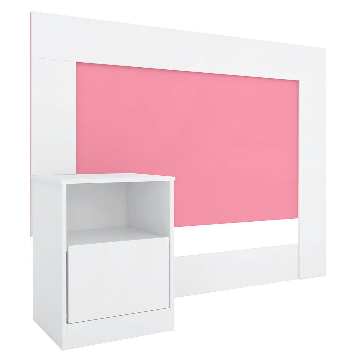 Cabeceira Solteiro com Criado London Branco/Rosa Demóbile