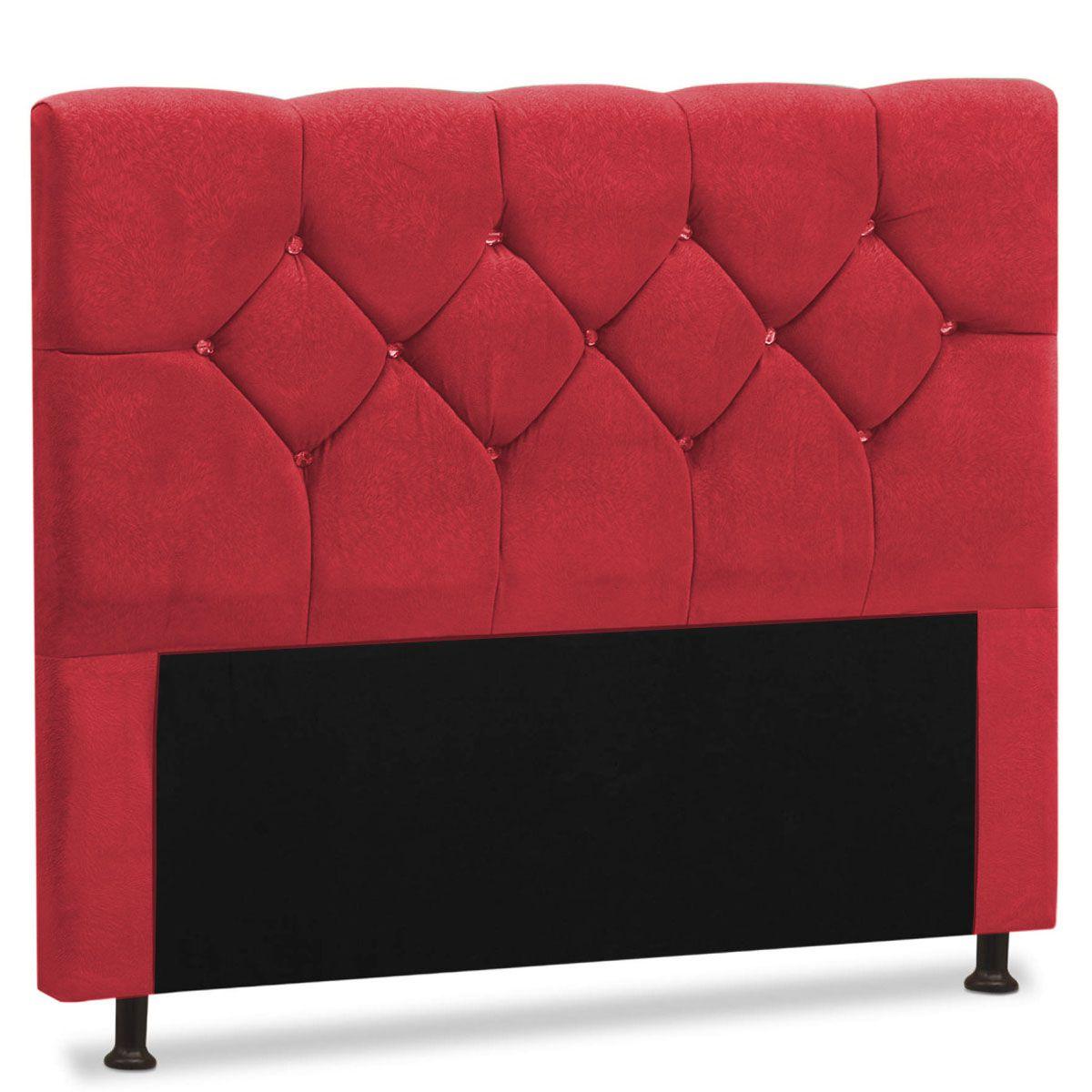 Cabeceira Solteiro Estofada França 90 cm Amassado Vermelho