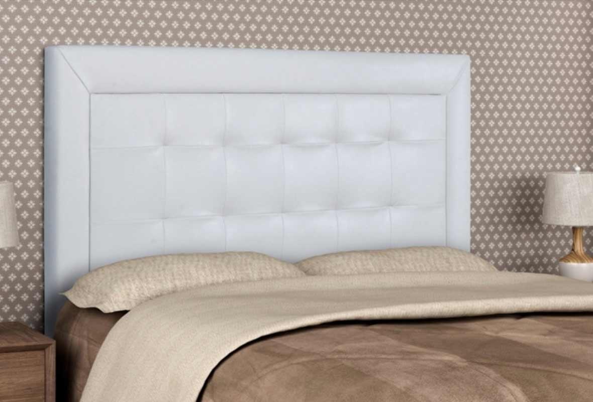 Cabeceira Casal Estofada Tamires 140 cm Corino Branco