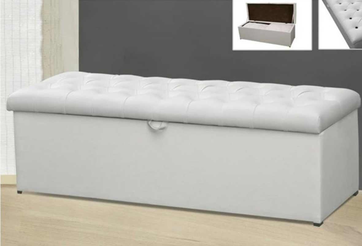 Calçadeira Baú Giovana 90 cm Corino Branco Casa Chick